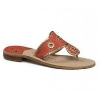 Nantucket Gold Sandal in Fire Coral and Gold by Jack Rogers