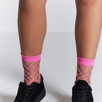 Wide-Fishnet Crew Socks