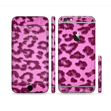 The Neon Pink Cheetah Animal Print Sectioned Skin Series for the Apple iPhone 6/6s Plus