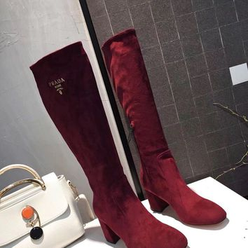 Prada Europe and the United States new fashion ladies sheep suede with heel boots