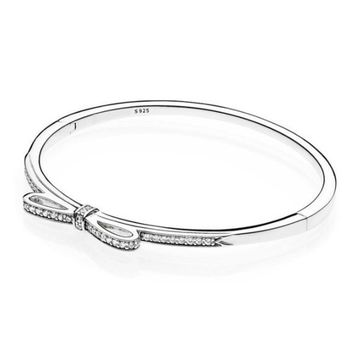 Top Quality Sparkling Bow With Cubic Zirconia Pandora Bracelet Fit Women Bead Charm 925 Sterling Silver Bangle Europe Jewelry