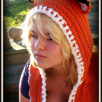 Fox Scoodie, Hooded Fox Hat and Cowl, Crochet Fox Hoodie and Cowl, Winter Fashion, Made to Order