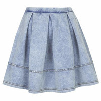 Denim Look Flippy Skirt - Denim