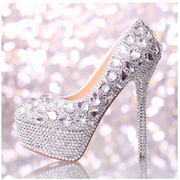 2017 Spring New Women Fashion White Crystal Wedding Shoes Super High Heel Pumps Bridal