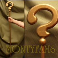 RIDDLER CANE Question Mark Gold Costume Wood Batman Cosplay Prop comic con