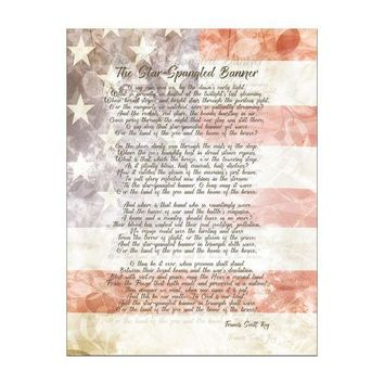 PEAPGQ9 4th of July American National Anthem Flag and Lyrics Rectangular Decal Sticker