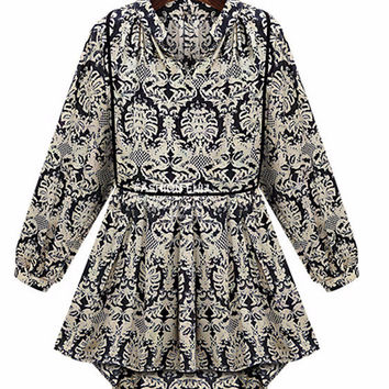 Vintage Print Bishop Sleeve Chiffon Dress