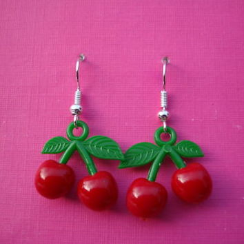 FUNKY RED CHERRY EARRINGS KITSCH CUTE RETRO KAWAII FRUIT FUN NOVELTY COOL