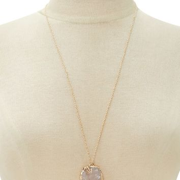 Faux Druzy Pendant Necklace