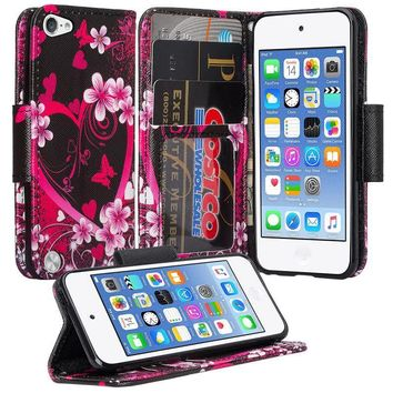 iPod Touch 5 / Ipod Touch 6 Wallet Case, Slim Strap Flip Folio [Kickstand] Pu Leather Wallet Case with ID & Credit Card Slots - Hot Pink Hearts