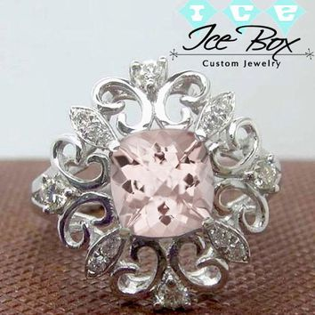 Gatsby Inspired - Morganite Engagement Ring  1.7ct 7mm Cushion Cut in a 14k White Gold Filigree Diamond Halo Setting