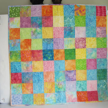 Reversible Batik Baby Quilt - Many Bright Colors - Washable  - 40 inches square - Very Sturdy - Very Soft