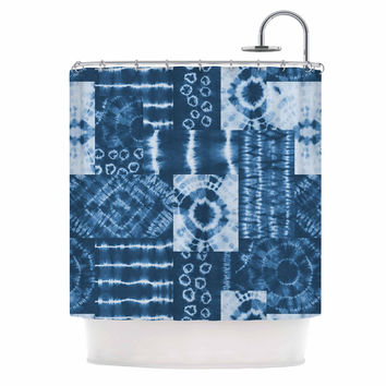 "Jacqueline Milton ""Shibori Patchwork - Indigo"" Blue Abstract Mixed Media Shower Curtain"