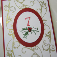 Christmas Holly Wedding Table Numbers by CharonelDesigns on Etsy