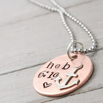 Stamped Anchor Necklace, Hope Anchors the Soul Necklace, Hebrew 6:19 Necklace, Copper Anchor Necklace, Hand Stamped, Personalize Jewelry