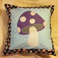 Mushroom Purple, Blue, Black and Pink Toadstool Hippie Pillow Cushion