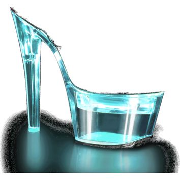 Illuminated Clear Ankle Strap Sandal 7 Inch Heels-Stripper Shoes