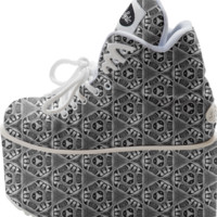 BW GEOMETRIC HEXAZ Platform Shoes created by Webgrrl | Print All Over Me