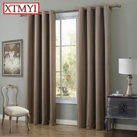 Modern linen blackout curtains for bedroom brown/beige Window Curtains for Living Room Drapes Curtains