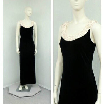 Vintage 90s Black Velvet Dress, White 3D Flower Collar, Maxi Dress Long Formal Dress, Evening Gown, A Line Dress, Black and White