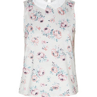 White Floral Print Contrast Collar Shell Top