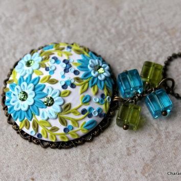 Beautiful Spring Polymer Clay Applique Pendant in Blues and Green
