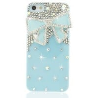 Nova Case Chic Series 3D Bling Crystal iPhone 5 and 5S Case Blue Ribbon