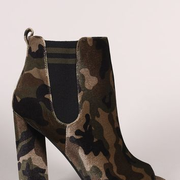 Qupid Camouflage Stripe Knit Inset Peep Toe Chunky Heeled Ankle Boots