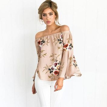 Casual Slash Neck Loose Blouse Summer Shirt Women Sexy Long Flare Sleeve Fashion Floral Print Blouses Blusas Off Shoulder Top