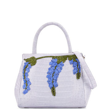 Nancy Gonzalez Daisy Small Wisteria Crocodile Satchel Bag, Light Lilac/Multi