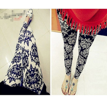 2013 new Fashion Style Lady Flowers Print Leggings Stretchy Pencil Skinny Pants free shipping