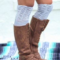 Scrunched Top Solid Thigh High Socks (Light Gray)