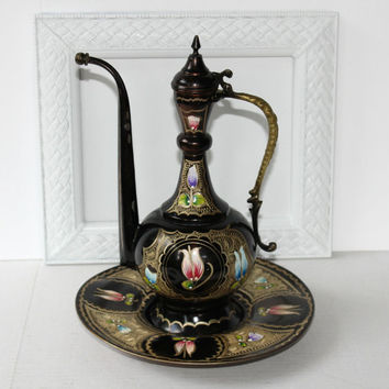 Vintage Turkish Teapot on Tray , Hand Painted Black with Flowers Decorative Copper Teapot
