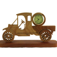 Antique Model A Style Truck Desk Clock Handmade From Cherry Wood, Pickup Truck, Ford Model A, Unique Gift, Man Cave, Gift For Him,