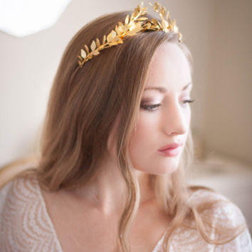 Greek Goddess Laurel Leaf Crown, Gold Tiara, Leaf Halo, Gold Leaf Headpiece, Hair Accessory, bridal tiara, Leaf Headband, Woodland, bohemian