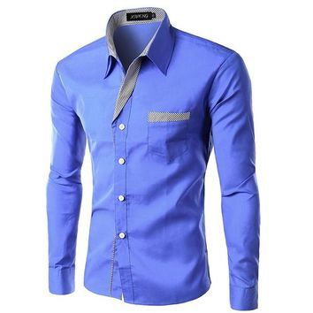 Mens Fashion Design  Long Sleeve Casual Button Up Shirt