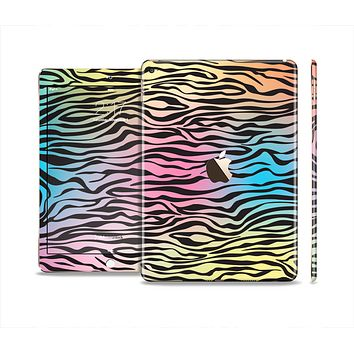 The Rainbow Colored Vector Black Zebra Print Skin Set for the Apple iPad Pro
