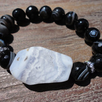 Madagascar Agate and Chalcedony Beaded Bracelet With CZ Pave Beads/Blue and Black