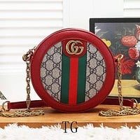 GUCCI New fashion stripe more letter leather leisure shoulder bag shopping crossbody handbag satchel women Red