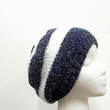 Navy blue white stripe knitted beanie handmade for men or women   5240