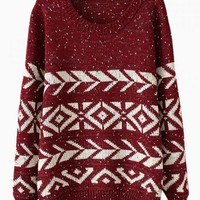 Wine Red & White Geometric Print Sweater