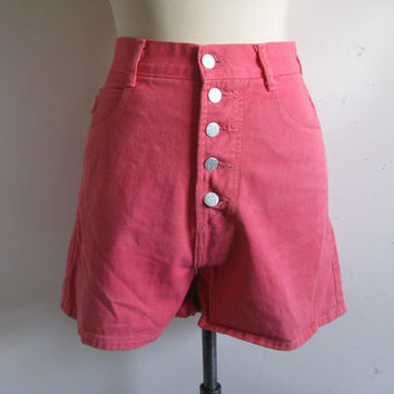 Vintage 1980s Bongo Shorts Candy Pink Cotton Denim Summer Jean 80s Shorts Medium