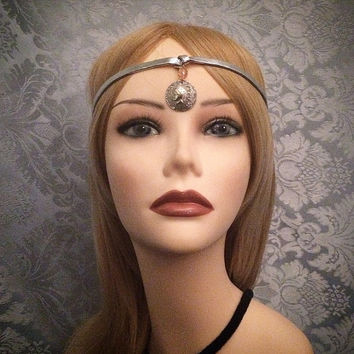 1920's inspired silver flapper headband 20s art deco coin bead beaded 20s 1920s gatsby goddess grecian headpiece head band piece elastic