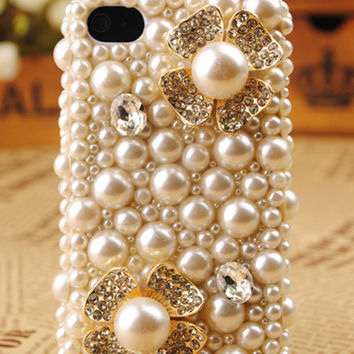 iPhone4 3D Pearl Flower Shell Cover