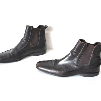 size 10.5 mens HUGO BOSS chelsea boots / vintage 80s brown leather DESIGNER slip on ankle boots