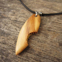 Handmade Surfboard Necklace, Olive Wood Surfboard Pendant, Surfer Girl or Mens Surfboard Necklace