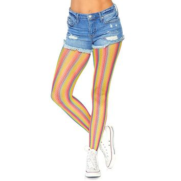 So Much Pride Multicolor Rainbow Stripe Pattern Fishnet Mesh Tights Stockings Hosiery