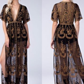 Honey Punch Black Lace Maxi Romper with Multicolor Thread