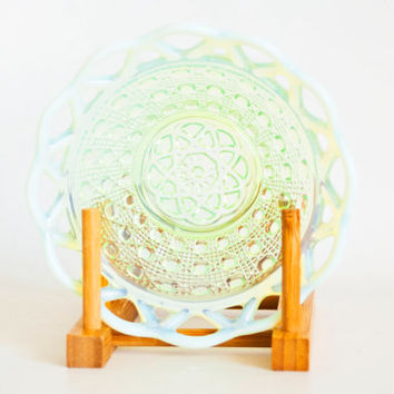 Vintage Imperial Vaseline Glass Bowl, Buttons and Cane Pattern Lace Edge, 1930s Opalescent Green Yellow Dish