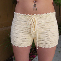 Crochet Shorts - High Cut - High Waisted - New Design - Cream - Fashion - Spring - Summer - Custom Orders Welcome